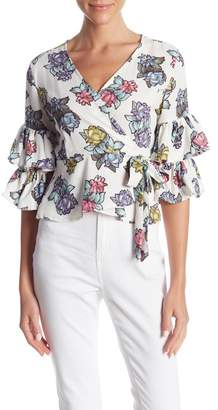 Romeo & Juliet Couture Surplice V-Neck Floral Print Blouse