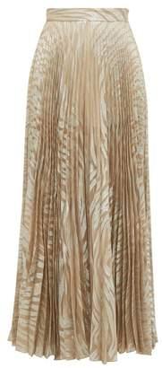 Dundas Pleated Silk Blend Maxi Skirt - Womens - Silver Multi
