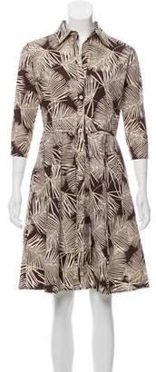 Sue Wong Printed Knee-Length Shirtdress