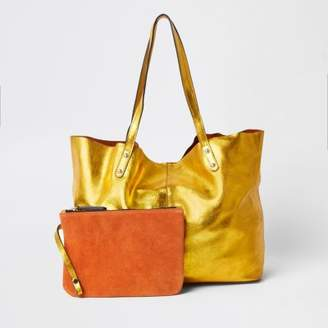 River Island Gold leather metallic shopper tote bag