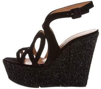 Alexa Wagner Glitter-Accented Caged Wedges w/ Tags