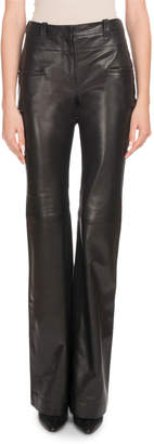 Altuzarra High-Rise Boot-Cut Calf Leather Pants