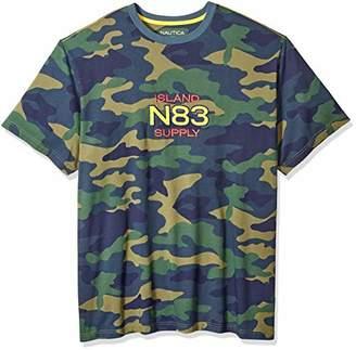 Nautica Men's Big and Tall Short Sleeve Camo Logo Crew Neck T-Shirt