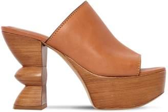 Salvatore Ferragamo 110mm Apua Leather Platform Sandals