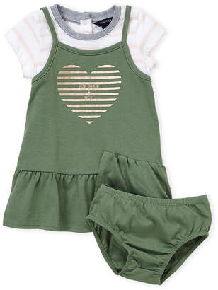 Nautica Infant Girls) Two-Piece 2fer Stripe Heart Dress & Bloomers Set