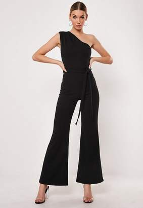 Missguided Tall Black One Shoulder Wide Leg Romper
