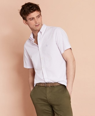 Brooks Brothers Gingham Seersucker Short-Sleeve Sport Shirt