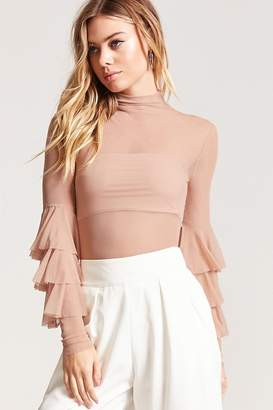 Forever 21 Tiered Bell-Sleeve Mesh Top