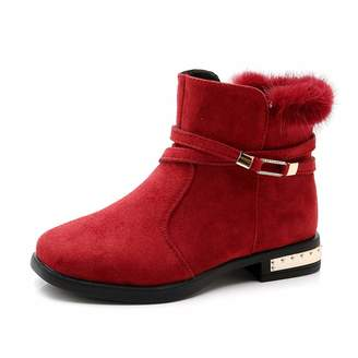 736759279a93 ZX Boots Faux Fur Lined Girls Dress Boots with Zipper Synthetic Leather Toddler  Kids Booties Winter