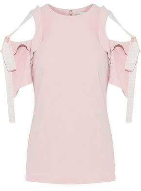 Rebecca Vallance Cold-Shoulder Bow-Detailed Crepe Top