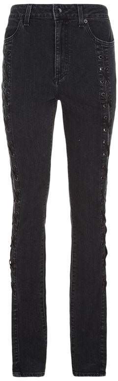 Lace-Up Stove Pipe Jeans