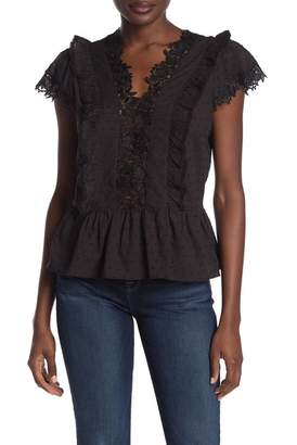 Heartloom Gilda Lace Trim Cap Sleeve Peplum Top