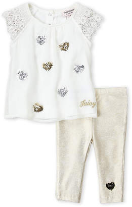 Juicy Couture Newborn Girls) Two-Piece Sequin Heart Tunic & Leggings Set