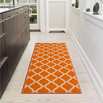 Ottomanson Glamour Collection Contemporary Moroccan Trellis Design Kids Lattice Area Rug (Non-Slip) Kitchen and Bathroom Mat Rug