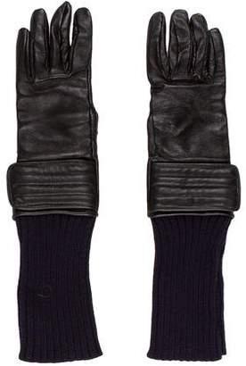 Diesel Black Gold Leather & Knit Gloves