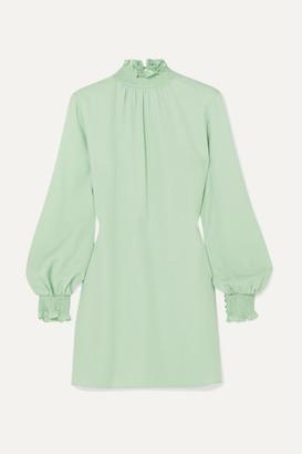 Les Héroïnes The C.j. Shirred Crepe Mini Dress - Mint