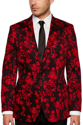 Jf J.Ferrar Holiday Red Floral Classic Fit Sport Coat