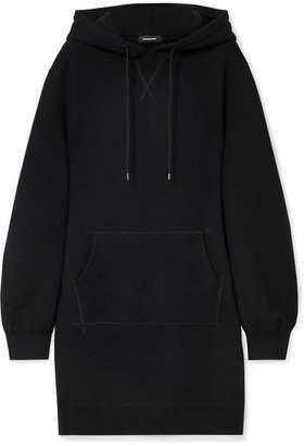 R 13 Oversized Hooded Cotton-blend Jersey Dress - Black