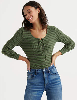 Lucky Brand STRIPE LACE UP RIBBED HENLEY