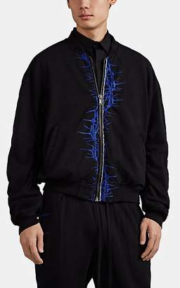 Haider Ackermann Men's Thorn-Embroidered Cotton Bomber Jacket - Black
