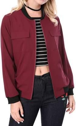 Unique Bargains Women's Zip Up Pocket Lightweight Casual Classic Bomber Jacket