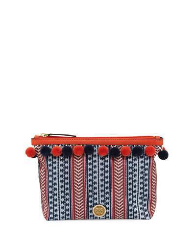 Tory Burch Tory Burch Pompom Printed Cosmetic Bag, Tory Navy/Multi