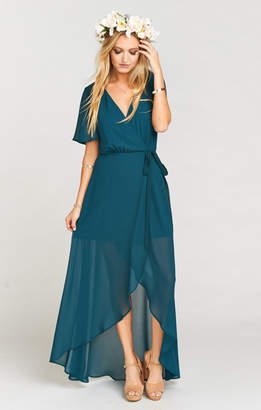 Show Me Your Mumu Sophia Wrap Dress ~ Deep Jade Chiffon