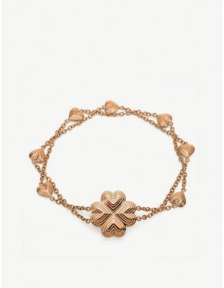 Folli Follie Heart4Heart Blossom rose gold-plated interwoven chain bracelet