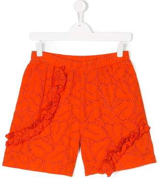 MSGM embroidered ruffled shorts