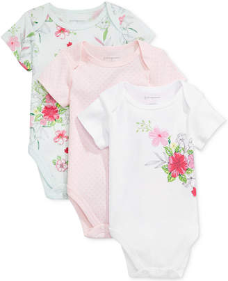 First Impressions Baby Girls 3-Pk. Dots & Flowers Bodysuits