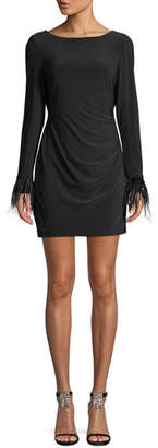 Jay Godfrey JAY X JAYGODFREY Wright Long-Sleeve Feather-Cuff Draped-Back Jersey Mini Cocktail Dress