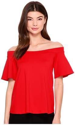 Susana Monaco Piper Off Shoulder Flutter Top Women's Clothing
