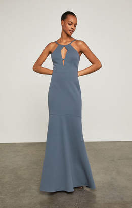 BCBGMAXAZRIA Front Cutout Halter Gown