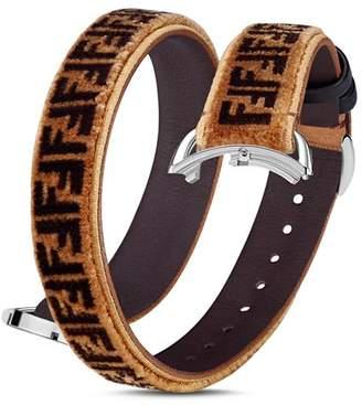 Fendi Selleria Velvet & Leather Wrap Watch Strap, 14mm