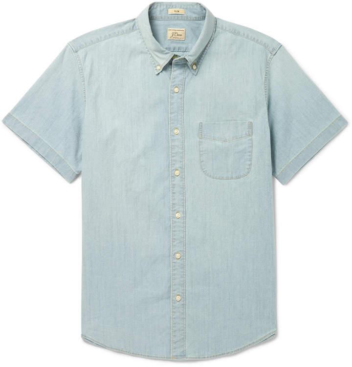 Slim-Fit Cotton-Blend Chambray Shirt