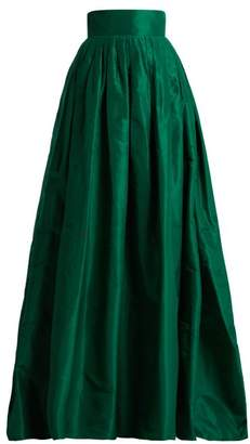 Carolina Herrera High Rise Silk Taffeta Ball Gown Skirt - Womens - Green