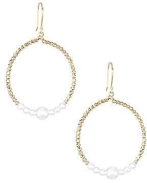 Mizuki Women's 14K Yellow Gold & White Round Akoya Pearl Drop Hoop Earrings