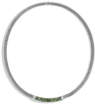 John Hardy Classic Chain Station Necklace With Mixed Green