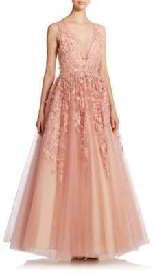 Basix Black Label Floral Applique Gown