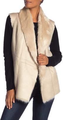 Dolce Cabo Faux Fur Trim Pleather Vest