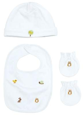 John Lewis Embroidered Animal Accessories Set, White