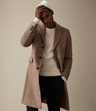 Reiss Our last order date for Christmas has now passed TILDON WOOL TOP STITCH DETAIL OVERCOAT Taupe