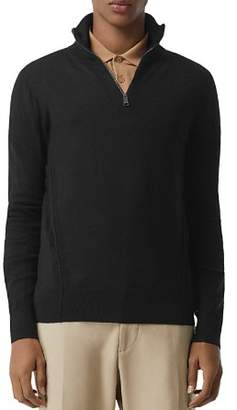 Burberry Connor Check-Trimmed Half-Zip Sweater