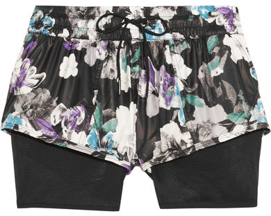 Adidas by Stella McCartney - Layered Floral-print Shell And Mesh Shorts - Black