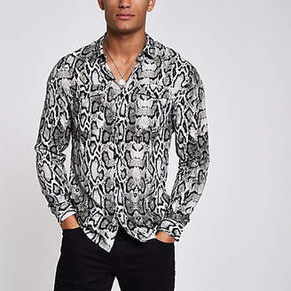 River Island Grey snake print long sleeve western shirt
