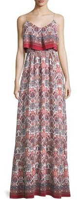 Joie Florina Folkloric Silk Maxi Dress, Burnt Coral $598 thestylecure.com