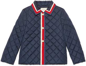 Gucci Children's nylon quilted jacket with Sylvie Web