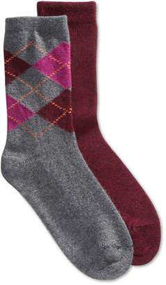 Hue 2-Pk. Argyle & Solid Boot Socks