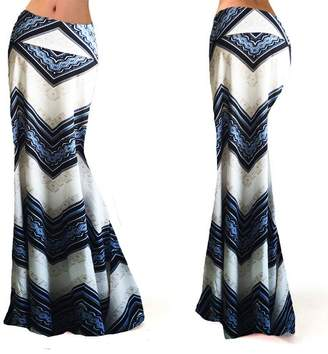 WCHUANG Women's Poly Span Various Printed Maxi Skirt High Waisted A-line Long Dress