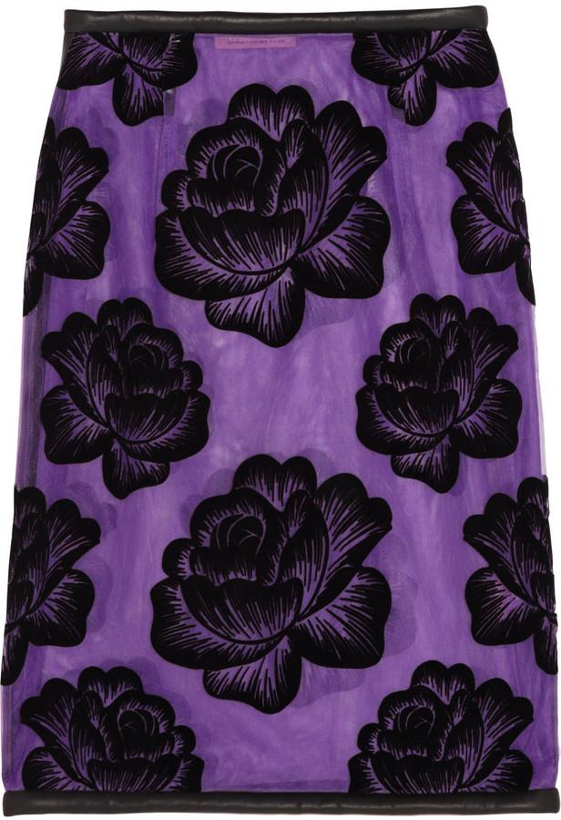 Christopher Kane Leather-trimmed flocked tulle pencil skirt